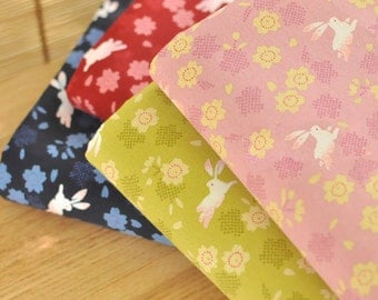 Cotton Fabric, Janpanese Fabric, Rabbits and Flowers Print, Medium Weight, Pink, Wasabi,Blue,Red,Navy - 1/2 yard