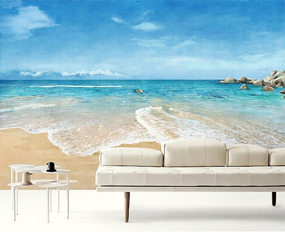 Beach scene wallpaper epic sea wall mural blue ocean wall for Wall scenes
