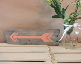 Pallet Arrow White Washed Stain and Coral