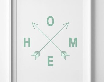 Mint arrows print, green home art, wall art printable, mint green decor, home arrows print, mint green print, digital print, mint home decor