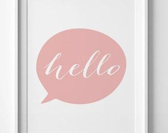 Hello printable wall art, nursery decor, coral wall print, kids wall art, digital nursery art, hello print, pink wall decor, nursery print