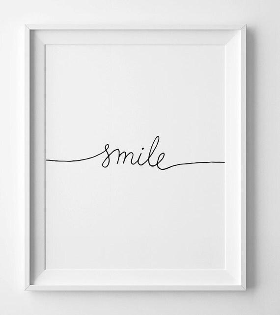 Minimalist Print, Smile, Black And White, Nursery Printable, Wall Art  Decor, Kids Room Poster, Inspirational Quote, Nursery Wall Art