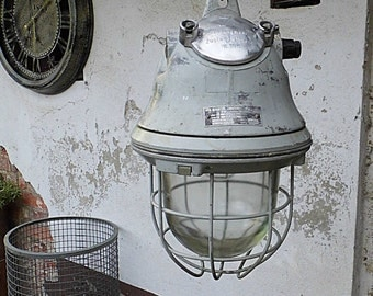 Vintage lamp - german Cage Light - Industrial - factory style