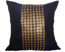 Dark Blue Euro Sham with Gold Sequin & Wood beads Embroidery, 26x26 inch accent pillow,Beaded Pillow Cover, Euro Sham for bed, home décor