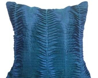 Midnight Blue Pleated Pillow, Midnight Blue Decorative Pillow, Midnight Blue Pillow, Midnight Blue Cushion, Pleated Pillows, 20x20  Pillow