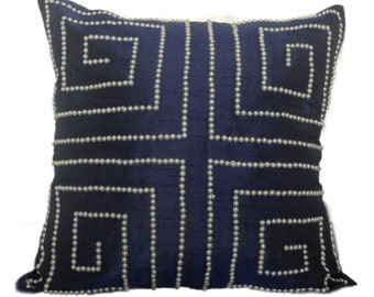 Geometric Pattern Pillow in Dark Blue, Couch Sofa Toss,Throw Pillow,24x24 inch Decorative Pillow, Pearl Embroidery Cushion Cover, Home Décor