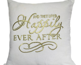 And They Lived Happily Ever After Pillow Quote Pillow Wedding Gift Pillow Marriage Wedding Pillow Happily Ever After Pillow Cover