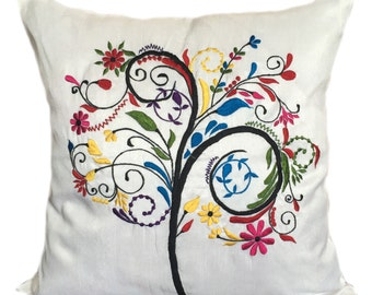 Tree of Life Decorative Pillow Cover White Tree of Life Pillow Rainbow Color Tree Pillow Sizes 14x14 16x16 18x18 20x20 22x22