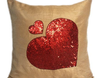 Beige Red Heart Pillow Sequinned Heart Pillow Heart Shams Valentine's Sham 14x14 16x16 18x18 20x20 22x22 24x24 26x26