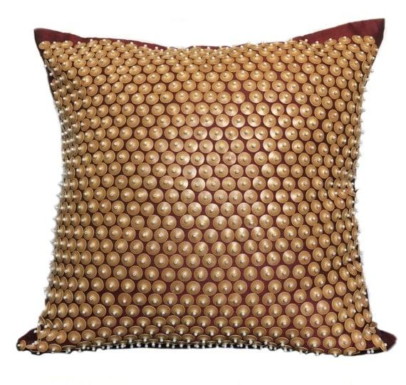 Decorative Pillows Maroon : Decorative Pillow Maroon Beige Pillow by TheWhitePetalsDecor