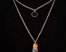 Bottled Colorful Seashell Necklace With Black Faux Druzy Charm