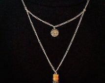 Bottled Colorful Seashell Necklace With A Glittery Silver Faux Druzy Charm