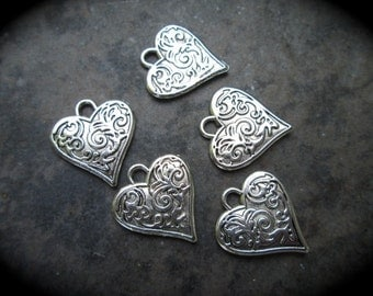 Filigree Heart Charms package of 5 with shiny silver finish Double Sided heart charms scroll pattern