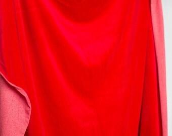 Vintage soft plush red velour fabric