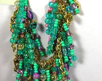 Wild & Crazy Turquoise and Aqua Gypsy Boho Dangling Beady Bracelet