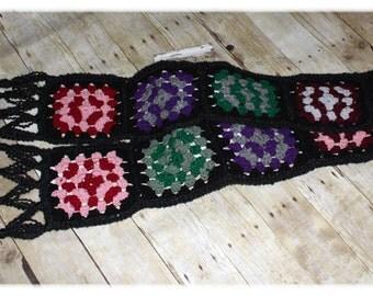 Granny Square Scarf / Retro / Vintage / Boho / Crochet (A27)