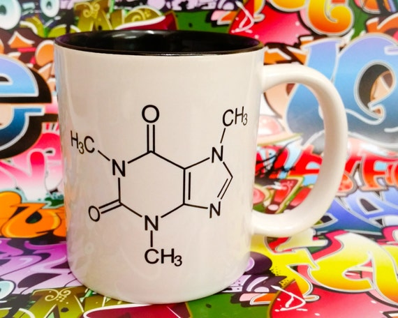 Chemical symbol for coffee mug science cup black inner