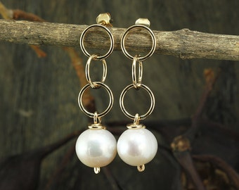 Gold Pearl Earrings, Pearl Post Earrings, 14K Gold Filled, Wedding Jewelry, Bridal, Bridesmaid Gift,Stera Jewelry X727