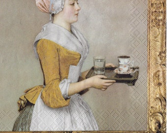 Set of 2(two) pieces - decoupage napkins -  33x33cm - The Chocolate Girl Jean-Étienne Liotard