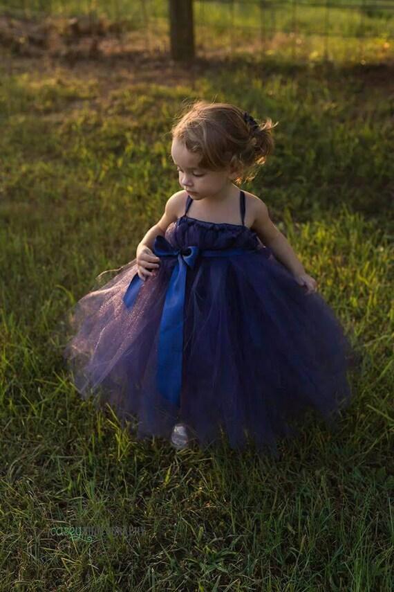 Navy Blue Tutu Flower Girl Dresses 11