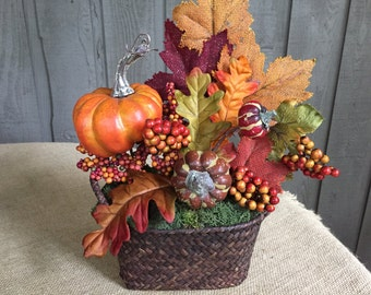 Fall arrangement/ autumn arrangement/ arrangement/ home decor/ entryway decor/ powder room decor/ fall decor/ pumpkin arrangement/ pumpkin