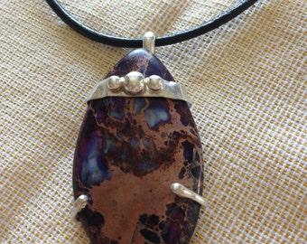 Ocean Jasper and Sterling Silver Pendant