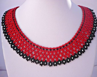 Black-red flowery hungarian beadwork choker set, black-red statement necklace and earrings