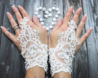 Delicate beaded bedding bloves, lace gauntlet, french lace white gloves, fingerless glove, High Quality lace, Minimal Lace Gloves