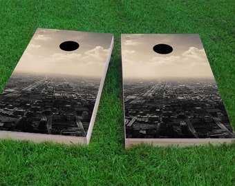 Skyline Light Weight (1x4) Regulation Size Custom Cornhole Board Game Set - Corn Hole - Bag Toss