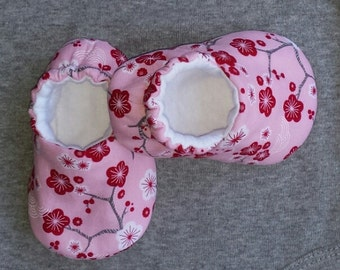 Baby Shoes - Cherry Blossoms - crib shoes, baby slippers