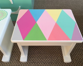 Step Stool - Children's Foot Stool, Children's Step Stool, Stepstool, Harlequin, Contemporary Step Stool, Children's Bench, Steps and Stools