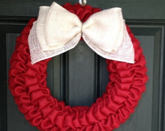 Red and White Burlap Bubble Wreath - Chistmas burlap wreath- Valenine's Burlap Wreath