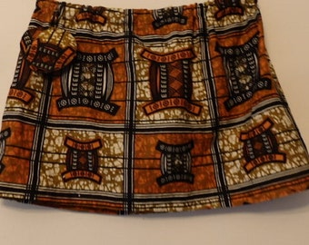 African Dance Mini Hip Skirt w/matching fabric earrings  xs-L Free shipping
