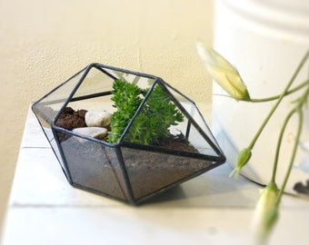 Geometric Terrarium, A Dipyramid Stained Glass Terrarium, Use As a Planter, Ring Box, Jewelry Box Or a Candle Holder.