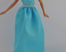 Handmade Fashion Doll Clothes Handmade Blue with Silver Evening Gown This is not a product or Endorsement of Mattel Barbie Clothes  ® #59