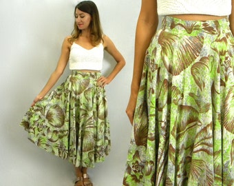 Reserved...Seashell Abstract Cotton Circle Skirt 50s