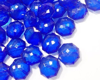 Royal Blue Translucent Beads - 21mm Faceted octagon round Bead - FLAT RATE SHIPPING - Jewelry Making - Wire Bangles