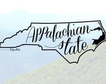 Appalachian State University Decal Free Shipping