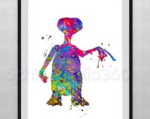 E.T.The Extra Terrestrial Watercolor Art Print - Archival Fine Art Print Home Decor Children's Wall Art Wall Hanging Birthday Gift