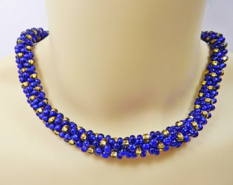 Cobalt Blue and Gold Beaded Kumihimo Necklace, Collar Necklace, Beaded Kumihimo Braiding, Two-Tone Necklace, Handmade Jewellery,Gift For Her