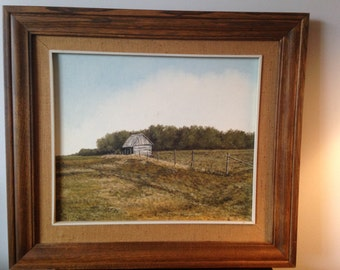 "Canadian Artist Julie Harris oil Painting on Canvas ""Small Hut North Of Eriksdale"""