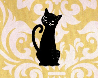 Cat Stamp - Black Cat Sitting: Wood Mounted Rubber Stamp
