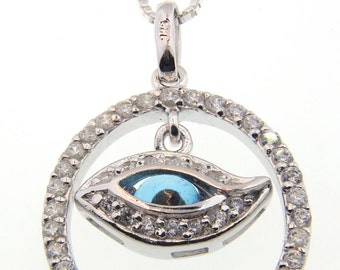 Evil Eye and Crystals Silver Necklace