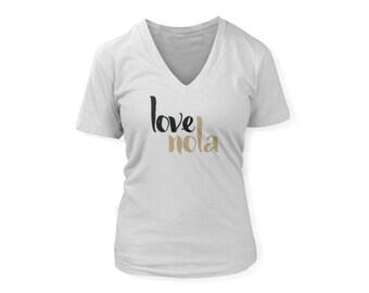 Love NOLA T Shirt | New Orleans T Shirt | Women's Football Season TShirt | New Orleans Saints Football Shirt