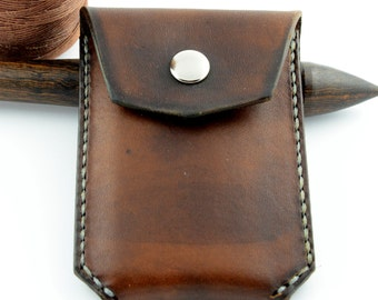 Business or Credit Card Holder Case - Walnut Brown w/ Grey Stitching - Hand-made, hand stitched - L3-001-0007