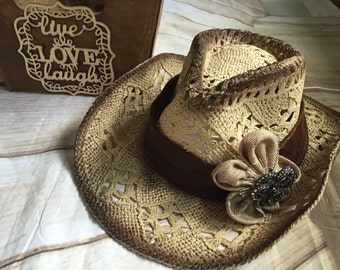 cowboy hat, cowgirl hat, western cowgirl hat, sun hat, rustic cowboy hat, hats
