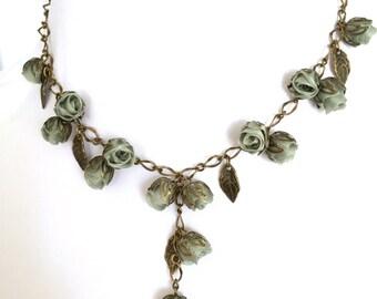 Handmade Fabric Rosebud Necklace Sage