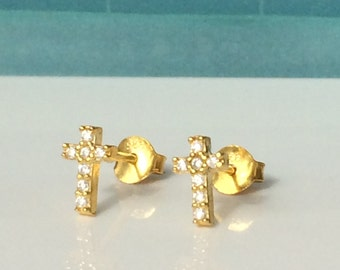 Cross Stud Earrings, in Gold Plated Sterling Silver and Zirconia • Perfect Cross Gift For Her • Best Price on Etsy • Priced For a Pair