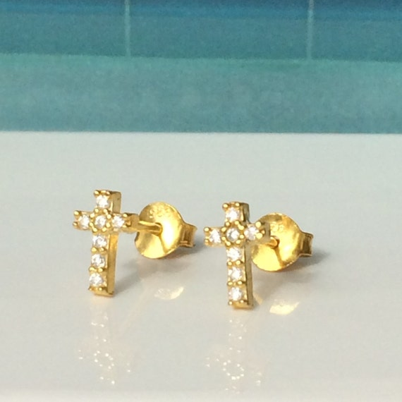 cross cz stud earrings in gold plated sterling silver with cubic zirconia, can get wet, perfect gif, ON SALE TODAY