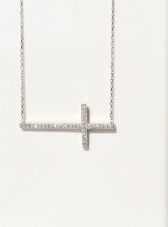 Cross Necklace, .925 Sterling Silver and Cubic Zirconia • This Beautiful Cross Necklace Will Be Noticed, Be Sure of That